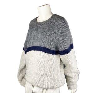 J. Crew Sweater Hand Knit Wool Colorblock Heavy